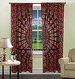 Indian Peacock Mandala Cotton Hippie Tapestry Door Cutain Decor Window Curtains Drape Room Curtain Balcony by Handicraftspalace