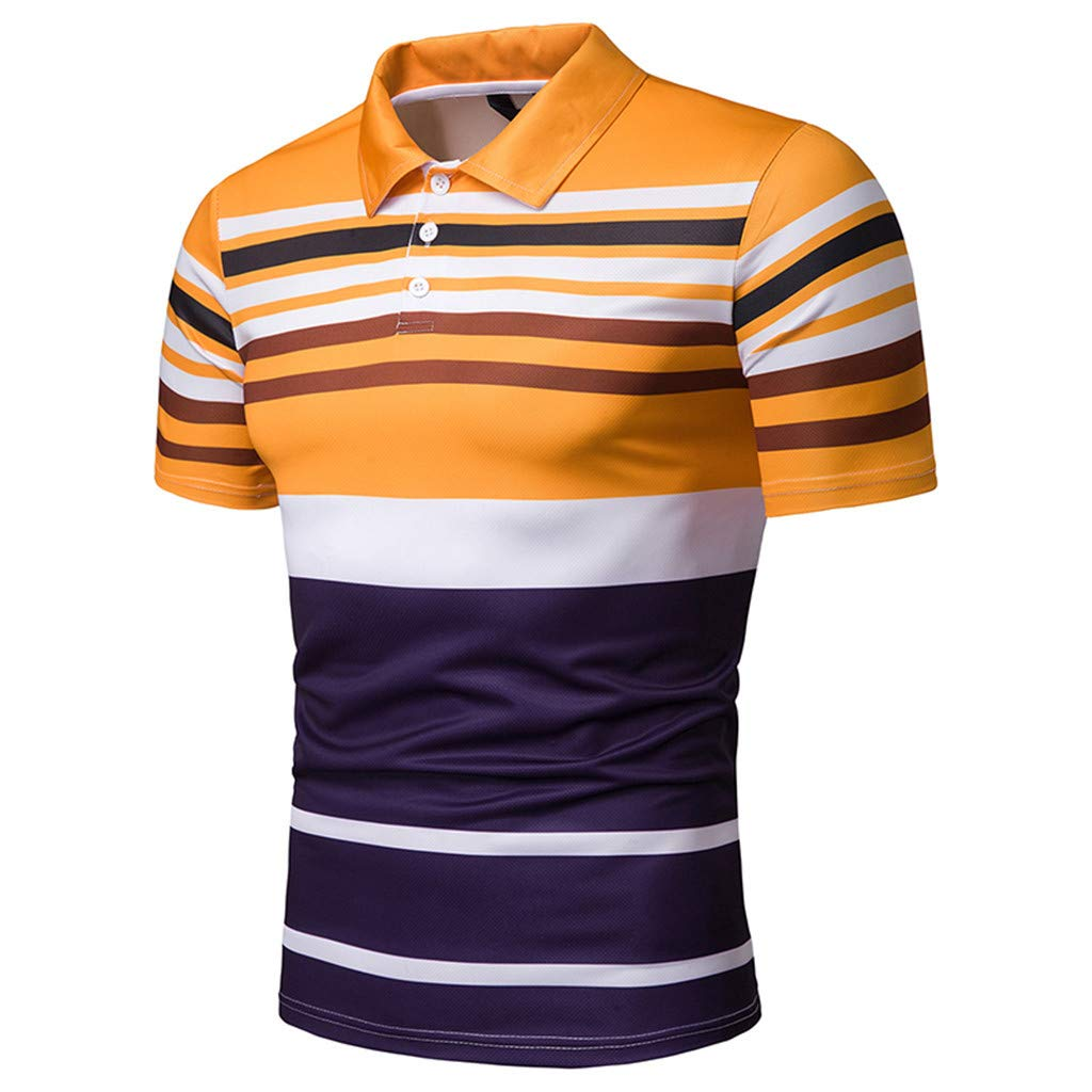 Sagton Polo Shirt for Men Fashion Mens Casual Classic Slim Fitted Printed Patchwork Short Sleeve Polo Tshirt Top