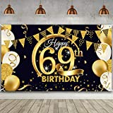 69th Birthday Party Decoration, Extra Large Fabric Black Gold Sign Poster for 69th Anniversary Photo Booth Backdrop Background Banner, 69th Birthday Party Supplies, 72.8 x 43.3 Inch