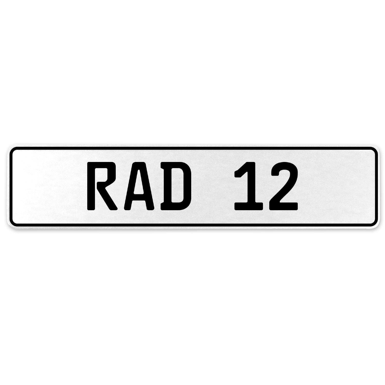 Vintage Parts 553916 RAD 12 White Stamped Aluminum European License Plate