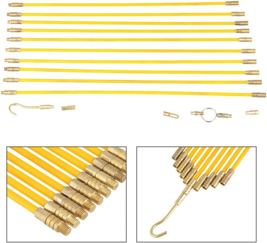 Fiberglass Wire Cable BiuZi 10pcs 4mm Electrical Cable Threader Running Puller Yellow Brass Fiberglass Wire Cable Running Rods Fish Tape Pull Push Kit