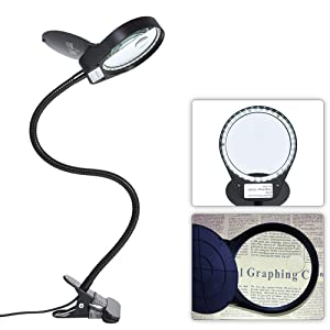 Tomshine Dimmable LED Lighted Magnifying Glass Lamp Mental Clamp 3X/10X Full Spectrum Daylight Desk Magnifier with Light Hands Free for Table Reading Close Work Bench Task Craft
