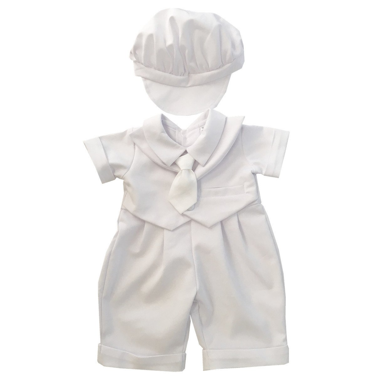 BBVESTIDO Baby Boy Baptism Christening Outfits 100% Cotton Romper with Necktie for 0-2T White