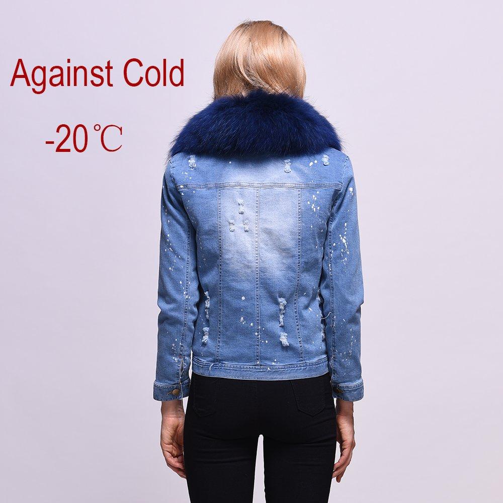 Winter Jacket Women 2017 Ladies Real Fox fur Lined Denim Jeans Womens Jackets (M) by HSPL (Image #2)