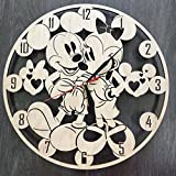 Mickey and Minnie Mouse Wall Clock Made of WOOD – Perfect and Beautifully Cut – Decorate your Home with MODERN ART – UNIQUE GIFT for Him and Her – Size 12 Inches