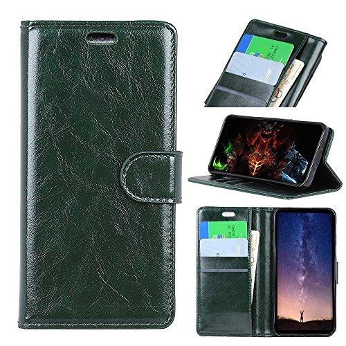 (RedGoodThings Moto E5 Plus Case, High-end Luxury Italian Production Crazy Horse Pattern Flip PU Leather Wallet Case for Motorola Moto E5 Plus (Color : Green))