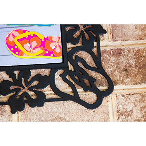 "Evergreen Flag Tropical Flip Flops Decorative Rubber and Polyester Sassafras Mat Tray - Door Mat Sold Separately - 30""W x 18'' H"