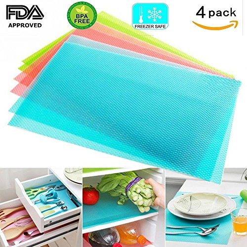 "Price comparison product image luloo Refrigerator Pad Antibacterial Antifouling Mildew Moisture Absorption Base Cushion for Placemats Vegetable Fruits Fresh Pad Cupboard,  Can be Cut Fridge Liner Pack of 4-17.7"" 11.4"" 0.04""(Blue)"