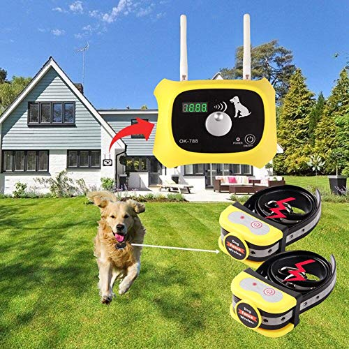 JUSTPET Wireless Dog Fence Electric Pet Containment System Adjustable Control Range 1000 Feet Wireless Fence Dog Boundary Container Waterproof Rechargeable Collar Receiver