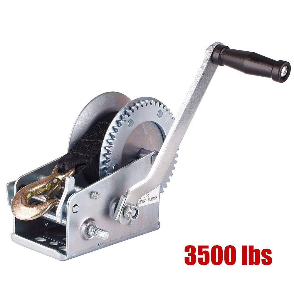 Notika 3500 lbs Hand Winch Crank Polyester Webb Strap Gear Winch ATV Boat Trailer