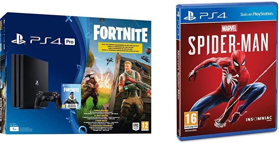 PlayStation 4 (PS4) - Consola Pro 1Tb + Fortnite Voucher + Marvels Spider-Man (PS4): Amazon.es: Videojuegos