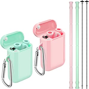 Reusable Straws, Funbiz 2 Pack Portable Silicone Collapsible Straw with Case and Extra Long Cleaning Brush for Kids Adult, BPA Free Foldable Travel Drinking Straws for Smoothie Coffee, Green & Pink