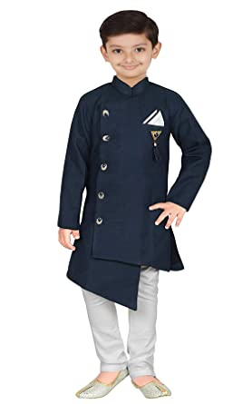 b929ac1f Brand Boy Kid's Boy's Cotton Silk Ethnic Wear Indo Western Kurta Pyjama Set  (Navy Blue. Roll over image to zoom in