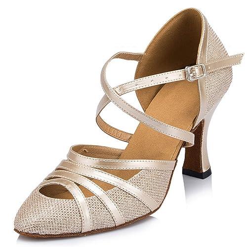 misu - Zapatillas de danza para mujer Plateado plata, color Plateado, talla 41.5