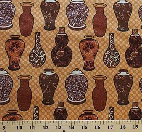 Cotton Vases Urns Jars Pottery Flowers Floral Artisan Antiques Chocolate & Indigo Cotton Fabric Print by the Yard (500-004)
