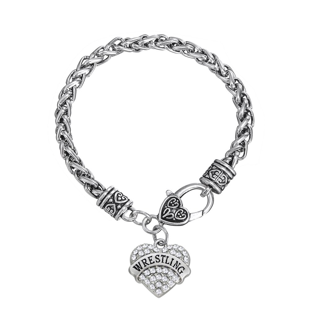 Fashion Heart-Shape Wrestling Words with Clear Crystal Wheat Chain Bracelet Jewelry (White)
