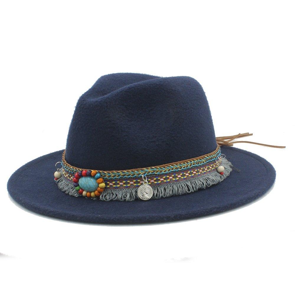 Tian Fedora Hat With Tassel Bohemia Ribbon ( Color : 1 , Size : 57-59CM ) Tian Fashion