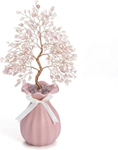 Top Plaza Rose Quartz Reiki Healing Crystals Copper Money Tree Wrapped On Rose Ceramics Vase Crystal Home Office Desk Tree Decor Feng Shui Luck Figurine Statue 11 Inches