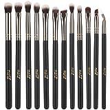 MSQ 12pcs Augen Make-up Pinsel Rose Gold Augen Make-up Pinsel Set mit weichen natürlichen Haaren & Echtholz Griff für Lidschatten, Augenbraue, Eyeliner, Blending - Roségold