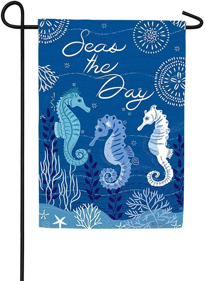 Custom Decor Seahorse Trio - Garden Size, 12 x 18 inches, Decorative Double Sided, Licensed and Copyrighted Flag - Printed in The USA Inc.