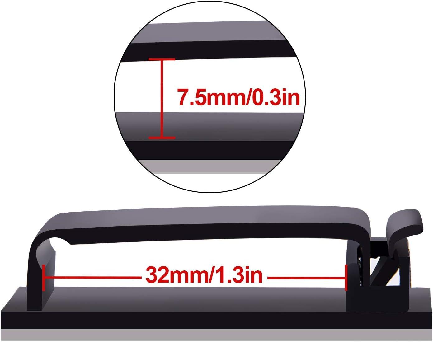 BQTQ 75 Pi/èces Clips de C/âble Adh/ésif Noir Rangement de C/âble pour Bureau TV PC