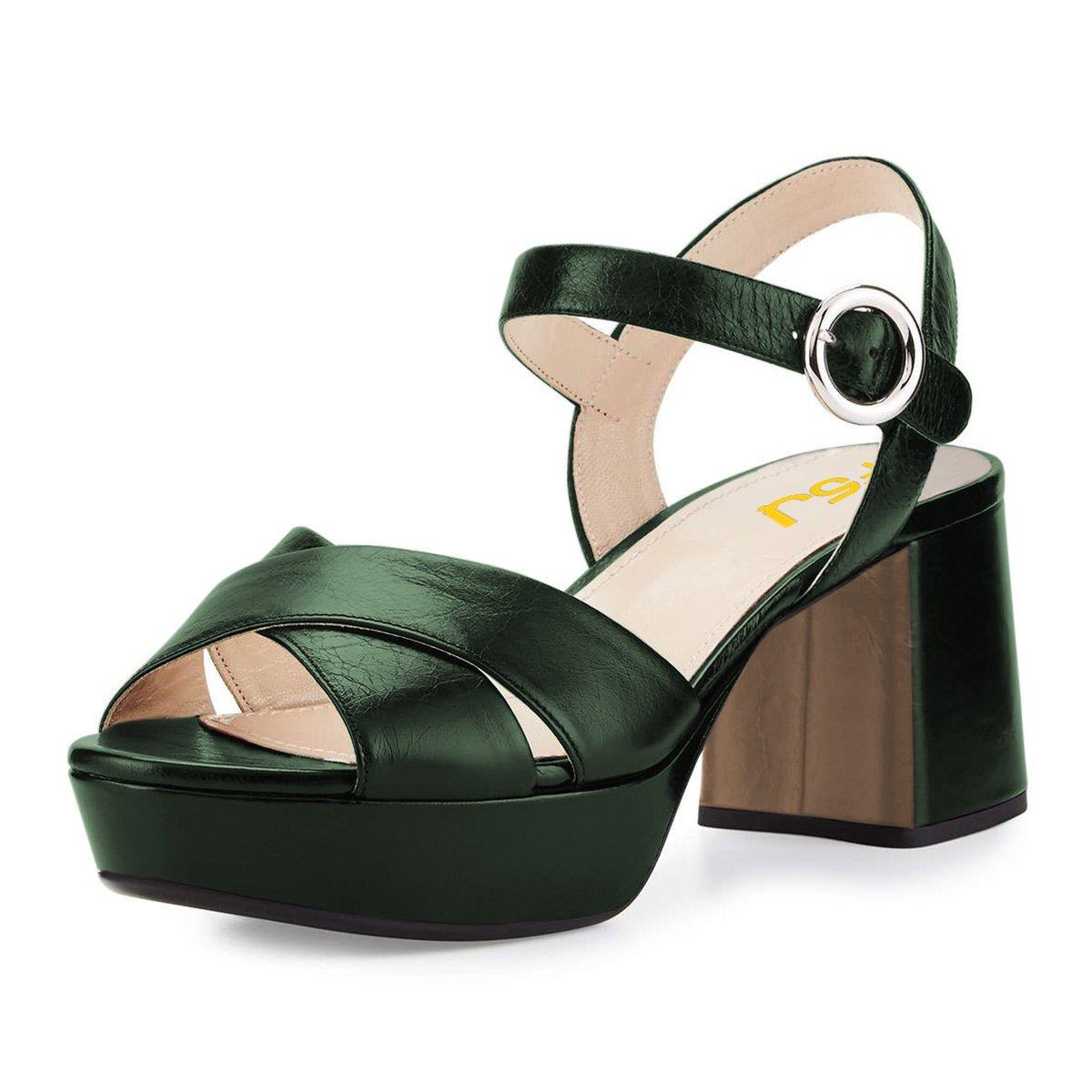 FSJ Women Summer Ankle Strap Chunky Heel Sandals Peep Toe Platform Comfortable Shoes Size 4-15 US B078QTGZJQ 15 B(M) US|Green
