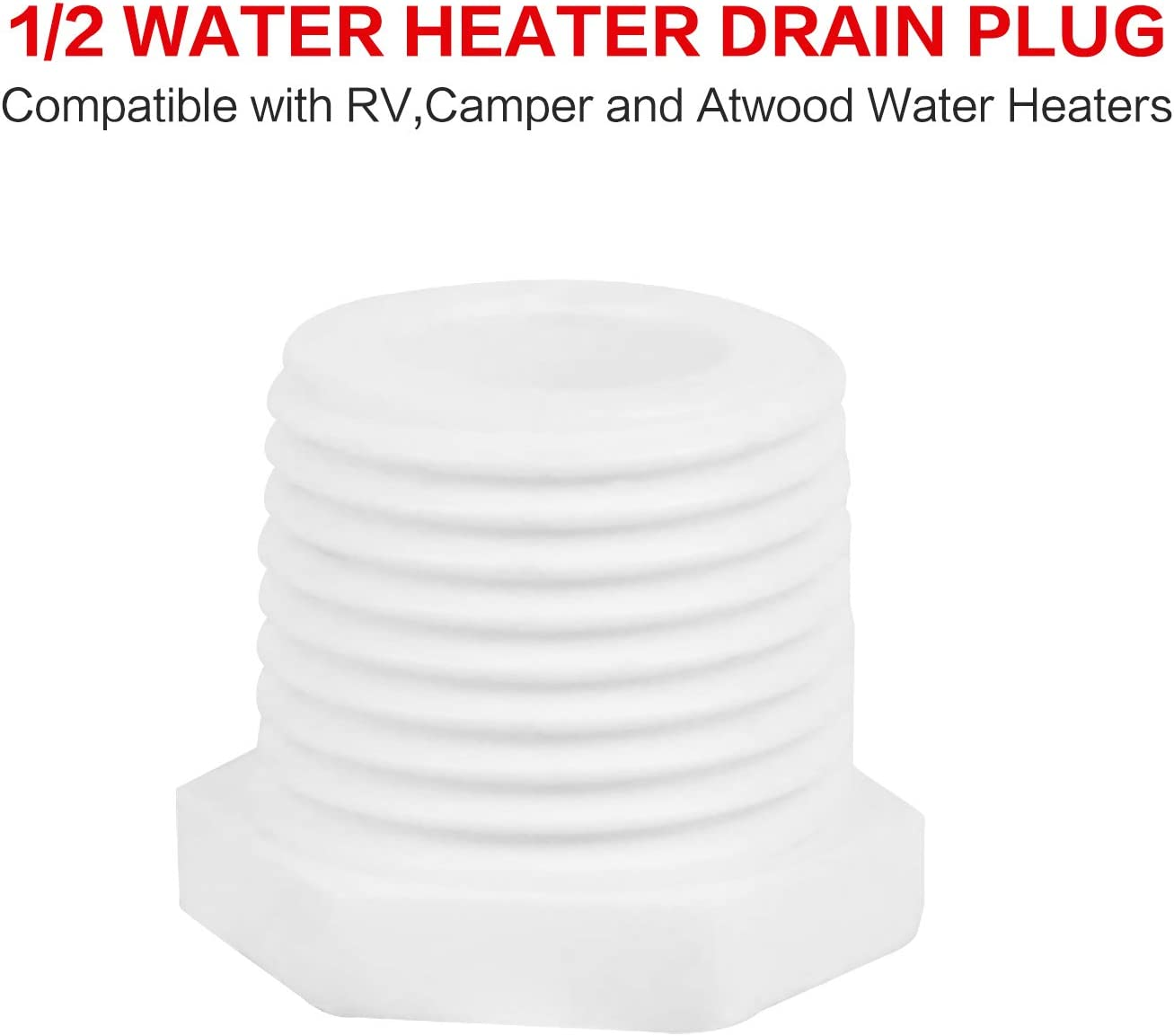 15 Packs Ketofa 11630 Water Heater Drain Plug,91857 1//2 Plastic Drain Plug Kit Compatible with Atwood and RV Camper Water Heaters,1//2 Inch