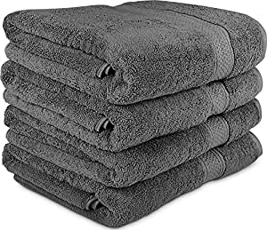 700 GSM Premium Towels Set 4 Pack - Cotton for Hotel & Spa Maximum Softness and Absorbency by Utopia Towels (4 Bath Towels) (grey)
