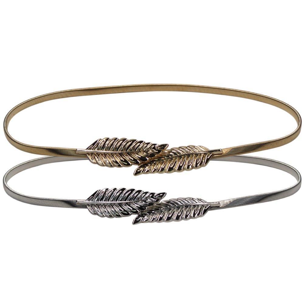 Lenhart, cinturón metálico elástico para mujer con cierre de broche de hojas, 2 unidades, dorado y plateado: Amazon.es: Hogar