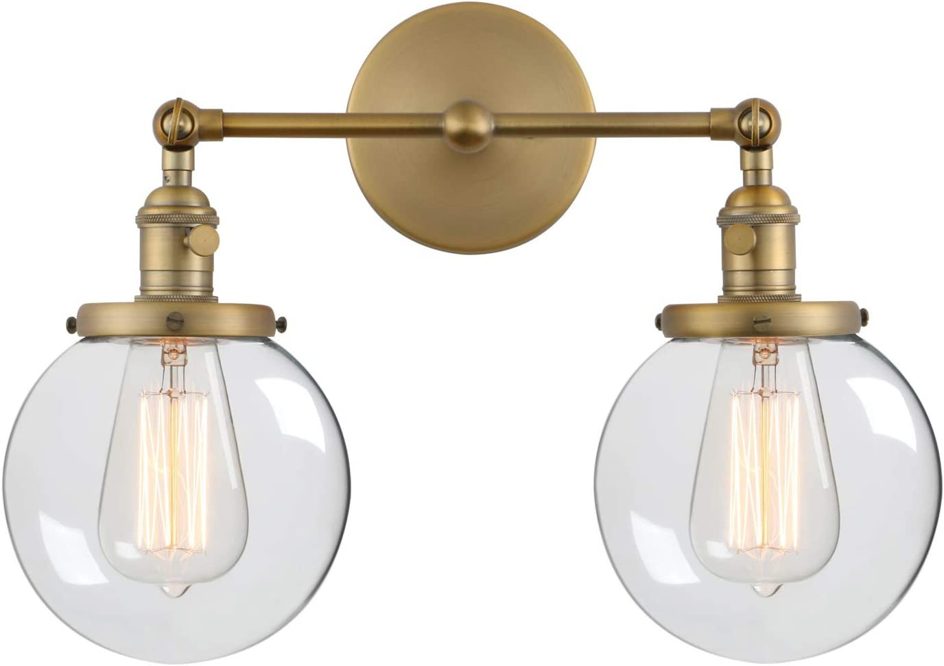 Phansthy Vintage 2 Light Wall Sconce Industrial Wall Light with Dual 5.9 Inches Globe Glass Lampshade