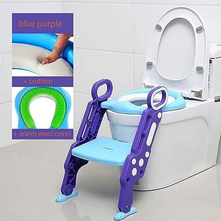 JIAJU Aseo Escalera Asiento Escalera del tocador de niños Asiento para WC con escalón Plegable Orinal Formación Reductor WC para Niños o para 1-7 años(Azul-púrpura + cojín + Cachemira Caliente): Amazon.es: Hogar