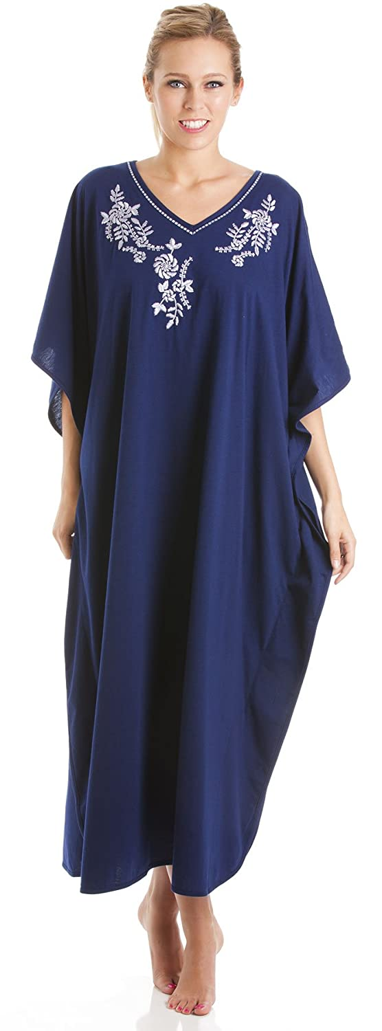 2PK Ladies One Size Kaftans Embroidered Neckline Lace Edging Full Length ZZ-LKAFTAN-2pk-811-Wine-Navy