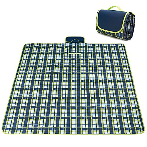 shangda Picnic & Outdoor Extra Large Blanket For Outdoor Water-Resistant Handy Mat Tote Spring Summer Striped for the Beach,Camping on Grass Waterproof Sandproof (78 x 57, Blue Plaid)