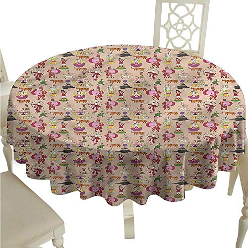 - ScottDecor Dinning Tabletop Decoration Circus,Retro Carnival Seal Tiger Table Cover Round Tablecloth D 70