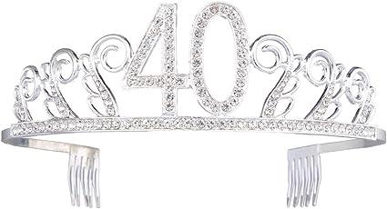Frcolor Corona Cumplea/ños 40 A/ños Diadema Cumplea/ños Mujer Tiara Cristal con Peines Plata