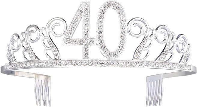 Frcolor Tiara argentata con cristalli per il 40/° compleanno
