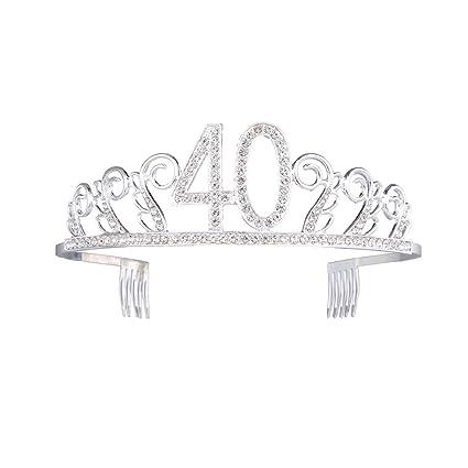Frcolor Cumpleaños Tiara Corona Cristal Diadema con peine para 40th fiesta de cumpleaños