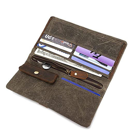 0dcb9225d Zhhlaixing Cartera para hombre y mujer Ideal para trabajo y viaje  Waterproof Canvas Long Wallets Credit Card Holder Long Bifold Purse for Men  Womens Teens: ...