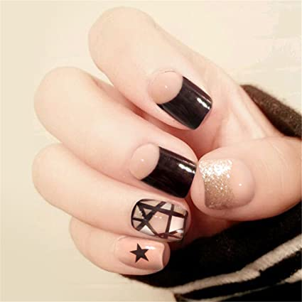 COCOPOP - Set de 24 uñas postizas para novia con diseño de uñas postizas y pegamento