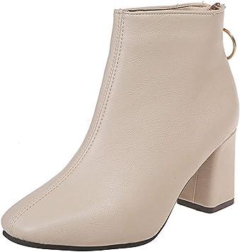 Bottes Bottines Femmes Fermeture Éclair Latérale De Clous Chaussures Talon Haut Bloc Chaussure Taille