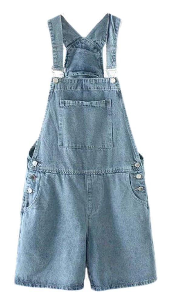 Soojun Women's Casual Straight Denim Bib overlls Shorts Plus Size Jeans Light Blue XX-Large