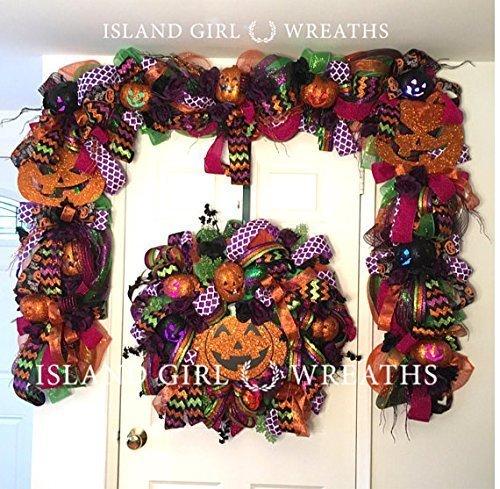 Amazon Com Halloween Garland Halloween Deco Mesh Wreath Deco Mesh