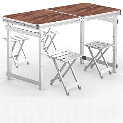 Amazon.com: Mesa plegable KMDB, 4 mesas de picnic plegables ...