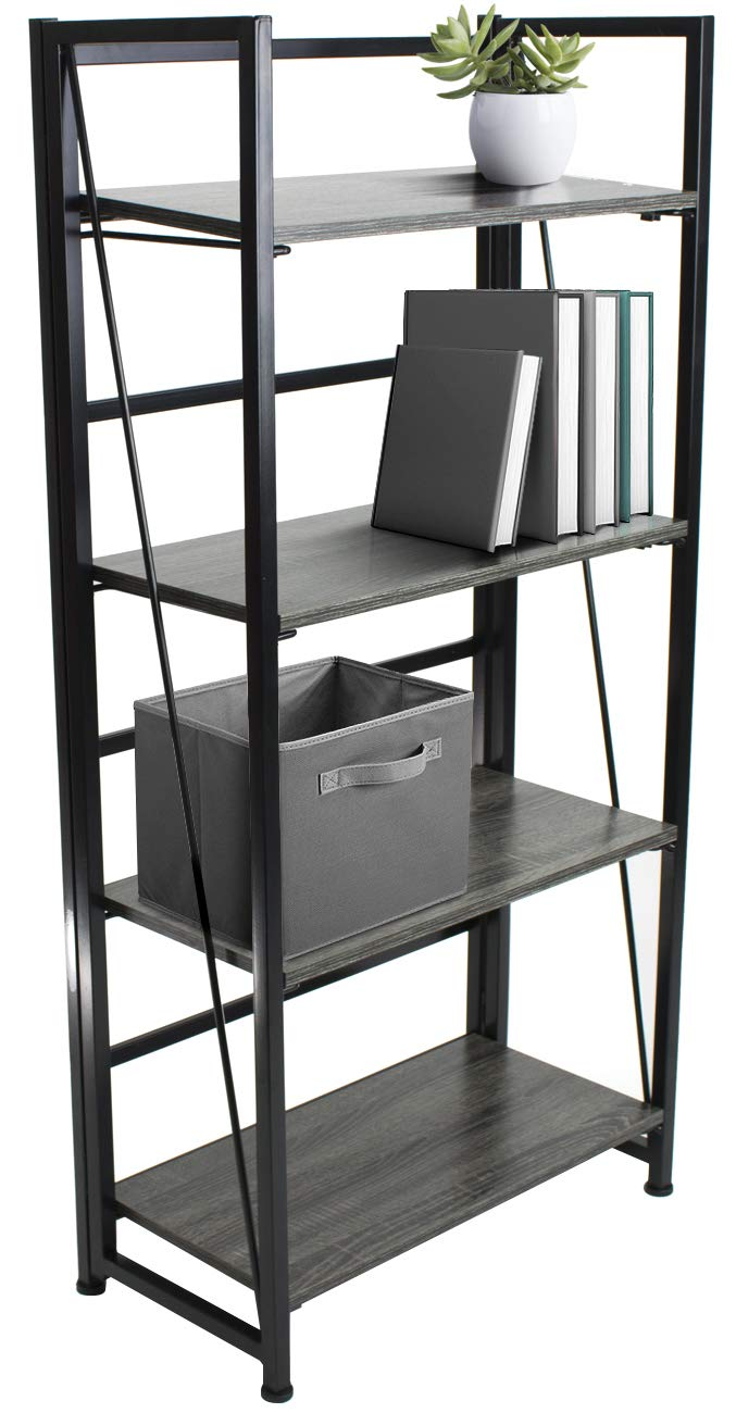 Sorbus Bookshelf Rack 4 Tiers Open Vintage Bookcase Storage Organizer, Modern Wood Look Accent Metal Frame, Shelf Rack Furniture Home Office, No Assembly Required