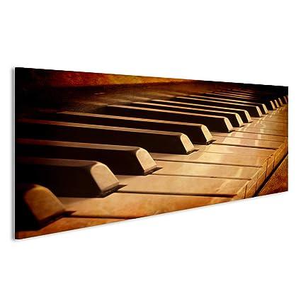 Cuadro Cuadros Primer plano de teclas de piano blanco y negro y la veta de la