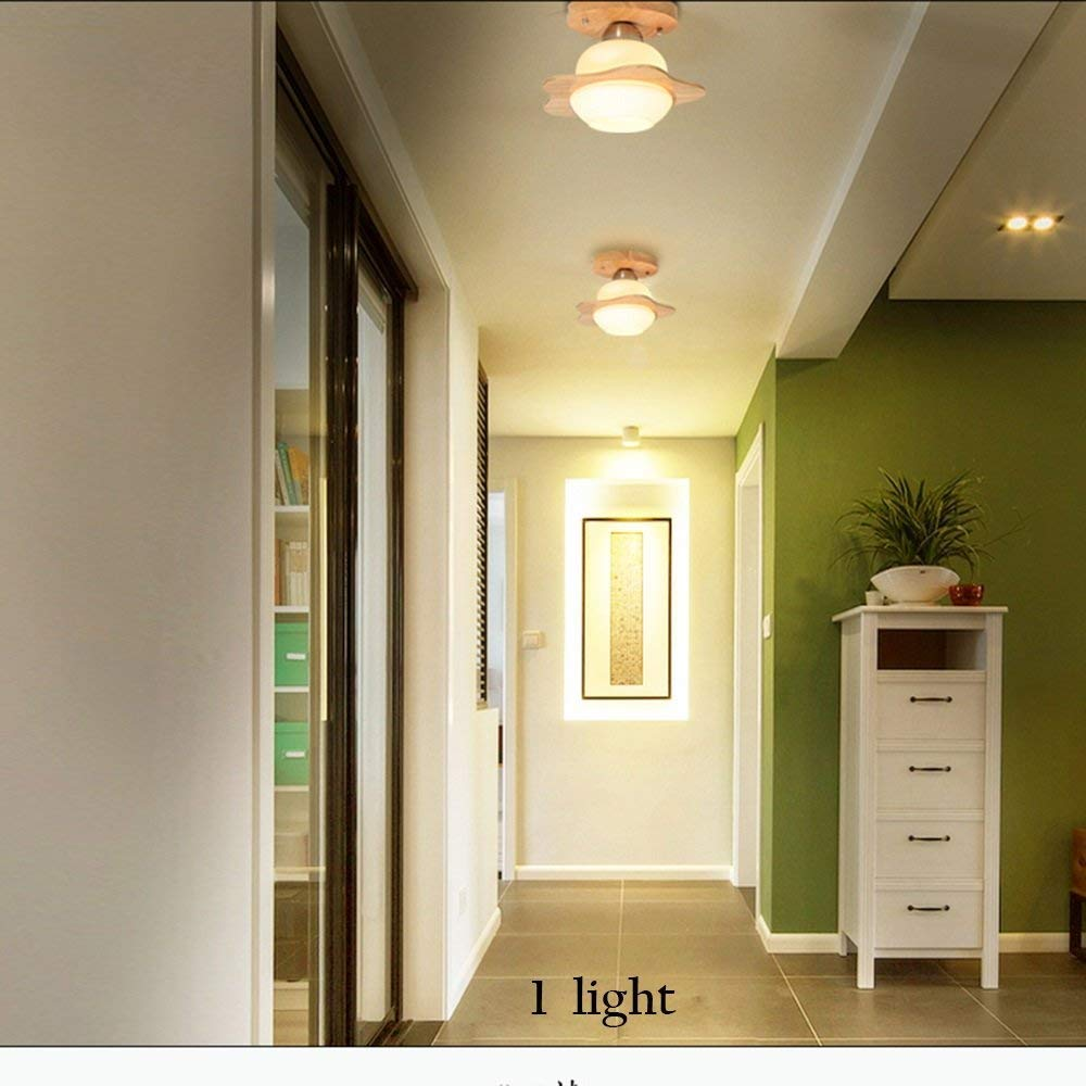 PLLP Living Room Bedroom Corridor Lighting, Household Ceiling Light Creative Modern Led Ceiling Lights Solid Wood 1 Holder  3 Holder  6 Holder Lamps Living Room Lights Bedroom Lights Restaurant Co