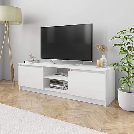 UnfadeMemory Mueble para TV Moderno,Mesa para TV,Mueble de hogar,con 2 Cajones y 2 Compartimentos Abiertos,Estilo Clásico,Madera Aglomerada (Blanco Brillante, 120x30x35,5cm): Amazon.es: Hogar
