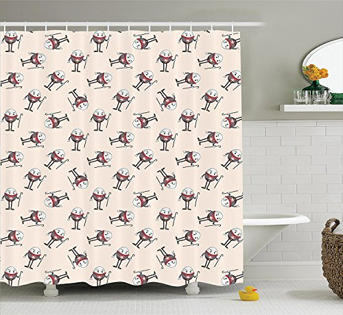 Alice in Wonderland Decorations Collection Humpty Dumpty Egg Dancing Character Fairy Alice Fantasy Decor Polyester Fabric Bathroom Shower Curtain Set with Hooks Pink Brown