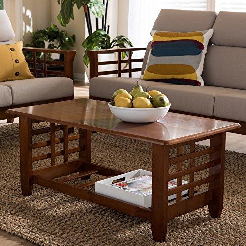 - Baxton Studio Leda Mission Style Cherry Coffee Table