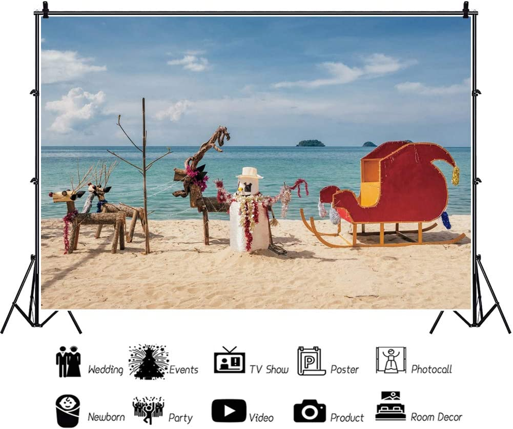 Leowefowa Seaside Beach Handmade Santa Claus Red Sled Reindeers Backdrop 10x8ft Merry Christmas Photography Background Child Baby Photo Shoot Xmas Party Decors Wallpaper Travel Photo